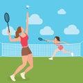Woman girls play tennis badminton racket court