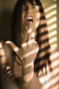 Woman giving middle finger. Stock Photography