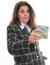 Woman giving money successful hispanic handing out canadian dollars female entrepreneur doing business in canada or donating Stock Image