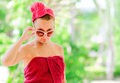 Woman glamorous in red towel Royalty Free Stock Photography