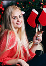 Woman with glass of champagne Royalty Free Stock Photo
