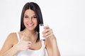 Woman with a glass of milk Royalty Free Stock Photo