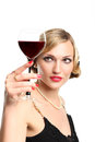 WOMAN WITH GLASS RED WINE Royalty Free Stock Images