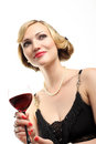 WOMAN WITH GLASS RED WINE Stock Images