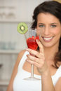 Woman with glass of strawberries Royalty Free Stock Image
