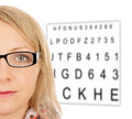 Woman with glasses and eye test panel Stock Photo