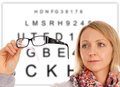 Woman with glasses and eye test panel Stock Image