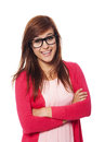 Woman with glasses portrait of smiling fashion Stock Image