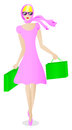 Woman goes shopping vector illustration of a who Royalty Free Stock Photos
