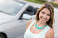 Woman going on a road trip happy in her car Royalty Free Stock Photos
