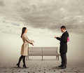 Woman going to her boyfriend happy young women Royalty Free Stock Photography