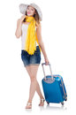 Woman going to summer vacation isolated on white Royalty Free Stock Image
