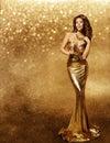 Woman Gold Dress, Fashion Mode...