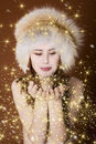 Woman with gold dust Royalty Free Stock Photo