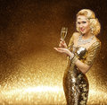 Woman Gold, VIP Lady Champagne Glass, Golden Fashion Model Royalty Free Stock Photo