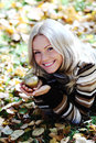 Woman with golden apple Stock Photo
