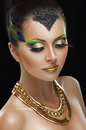 image photo : Woman with golden makeup