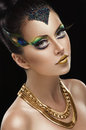 Woman with golden makeup beautiful Royalty Free Stock Photo