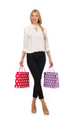 Woman after good christmas shopping isolated on white Royalty Free Stock Image