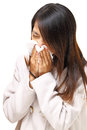 Woman got cold sneezing with white background Stock Photos