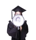 Woman graduate student happy with megaphone girl wear graduation cap and gown isolated on white background asian Stock Image