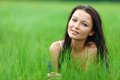 Woman on grass Stock Photos