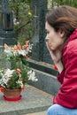 Woman at grave Royalty Free Stock Photo