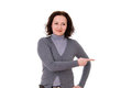 Woman in the gray cardigan Stock Photo