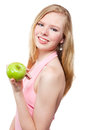 Woman with green apple on white background beautiful Royalty Free Stock Photos