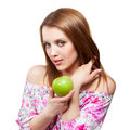 Woman with green apple on white background beautiful Stock Photography