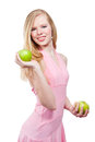 Woman with green apple on white background beautiful Royalty Free Stock Images