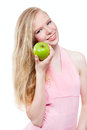 Woman with green apple on white background beautiful Stock Image