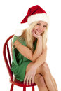 Woman green dress santa hat smile Royalty Free Stock Images