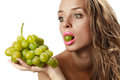 Woman with green grape Royalty Free Stock Photo