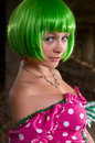 Woman with green hair Stock Photography