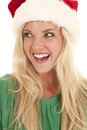 Woman green hat santa hat laugh Royalty Free Stock Image