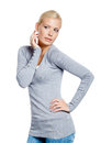 Woman grey pullover admiring herself isolated white Royalty Free Stock Photo