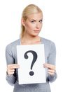 Woman grey sweater keeps paper question mark isolated white Stock Images