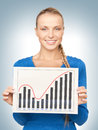 Woman with growth graph on board bright picture of confident Royalty Free Stock Photography