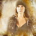 Woman  on grunge background Royalty Free Stock Photography