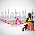 Woman with guitar on musical background easy to edit vector illustration of Stock Photo