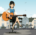 Woman guitarist with a background as a restaurant Royalty Free Stock Image