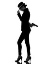 Woman gun gangster killer silhouette Royalty Free Stock Photo