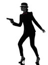 Woman gun gangster killer silhouette one stylish in suit holding in on white background Stock Image