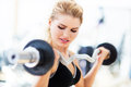 Woman in gym lifting weights exercising with dumbbells Royalty Free Stock Images
