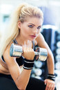 Woman in gym lifting weights exercising with dumbbells Stock Photography
