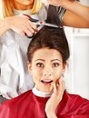 Woman at hairdresser. Stock Image