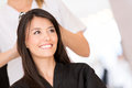 Woman at the hairdresser beauty portrait of a looking happy Royalty Free Stock Image