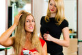 Woman at the hairdresser getting advise Royalty Free Stock Images