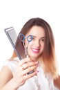 Woman hairdresser with scissors and comb Royalty Free Stock Photo